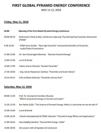 FIRST GLOBAL PYRAMID ENERGY CONFERENCE - PROGRAM