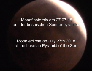 Moon Eclipse filmed from the Bosnian Pyramid of the Sun's beam